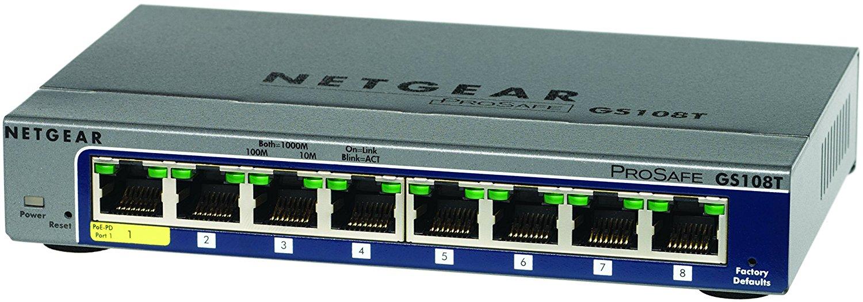 Switch Pro 8 Portas Netgear Giga Gs108t-200nas